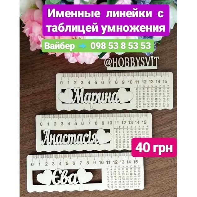 Іменна лінійка з таблицею множення в Україні.